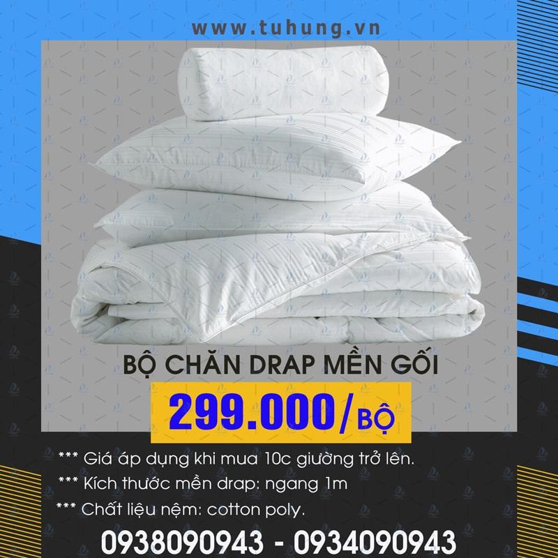 Bộ chăn drap mền gối giường tầng