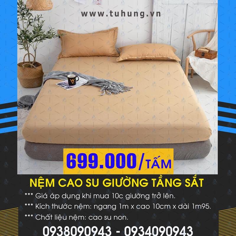 Nệm cao su giường sắt 2 tầng