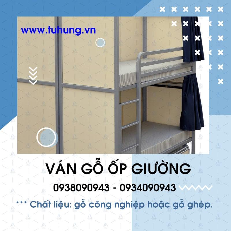 Ván gỗ ốp giường tầng khung sắt